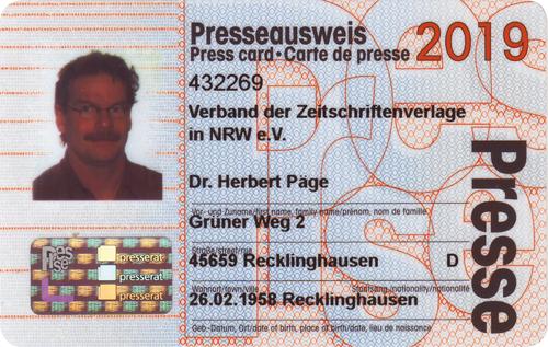 Presseausweis Herbert Päge 2019